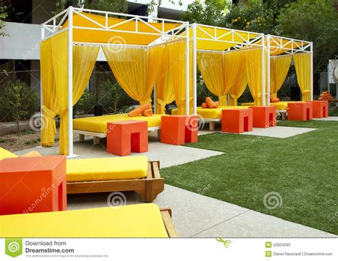 Luxury Chaise Hotel Swimming And Wading Pool Cabanas Stock Photos