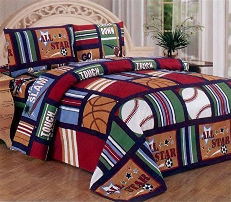 full size sports bedding fancy collection blue red green sport kids teens 4 pc