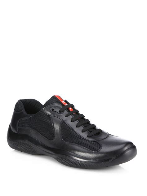 prada sneakers prada leather mesh sneakers in black for lyst