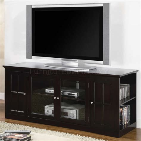 espresso finish modern tv stand w shelves two glass doors