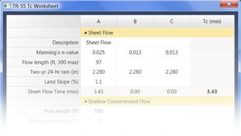 Tr 55 Spreadsheet by Detention Pond Design Hydrology Software Hydrology Studio