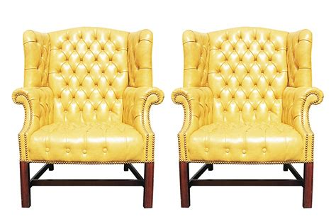 Yellow Chairs For Sale Design Ideas Pair Of Wormley Style Wingback Chairs In Yellow Naugahyde For Sale Antiques Classifieds