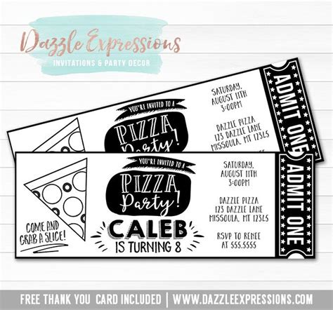 printable pizza tickets 17 best images about birthday invitations on pinterest