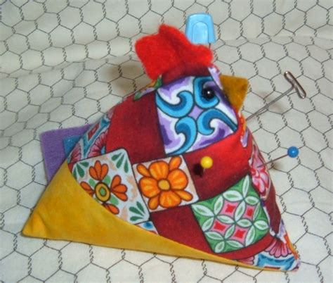 Patchwork Pincushion Pattern - quilt patchwork chicken pincushion complete kit for sale