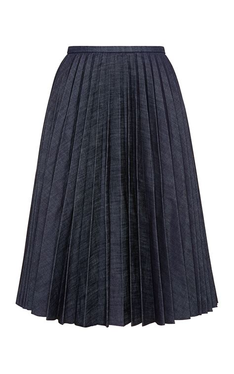 j w pleated denim a line skirt in blue