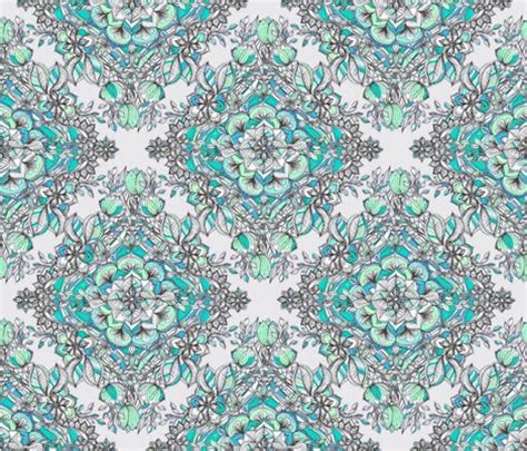 doodle god wiki fabric floral doodle in mint green turquoise and grey