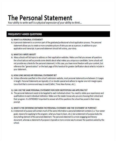 8 personal statement exles sles