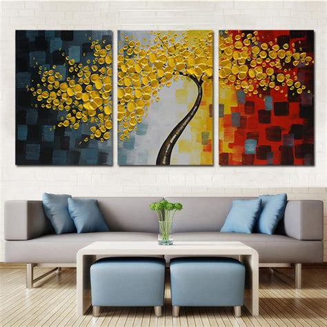 2017 lucky tree modern abstract painting framed with strecher wall pictures for living room