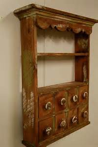 Wall Hanging Hutch Kitchen Spice Rack Apothecary Wall Shelf Apothecary