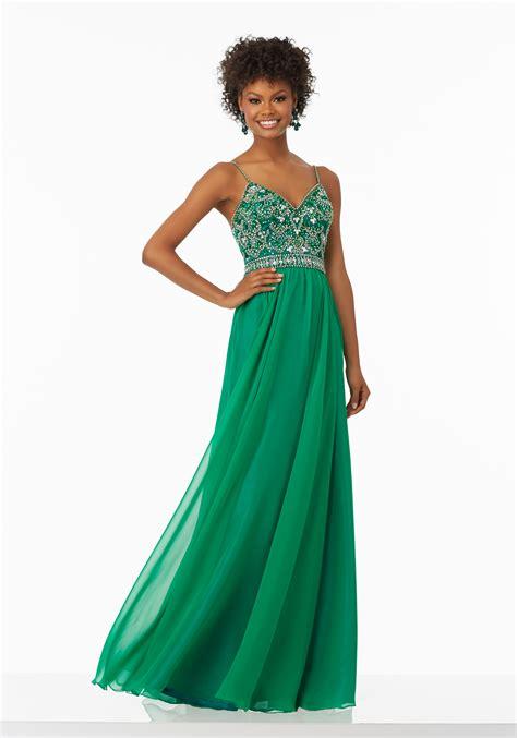 flowy chiffon prom dress with beaded bodice style 99129