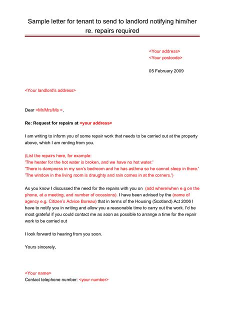 sle letter notifying a landlord letter template 28 images printable sle