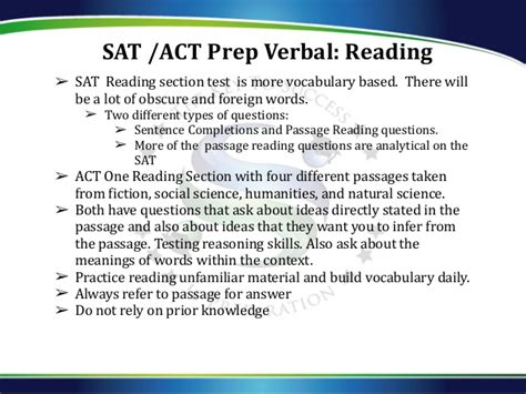 verbal sat section seminar sat test act test
