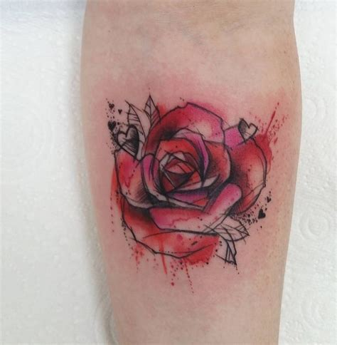 watercolor rose tattoo designs ideas and meaning