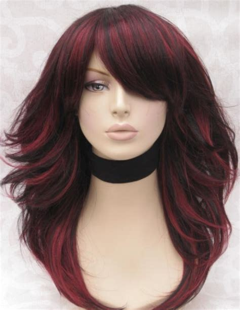 short haircut with red tint and highlights dark hair with red highlights pictures
