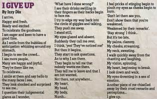 The poem to show how her 14 year old daughter was affected by bullies