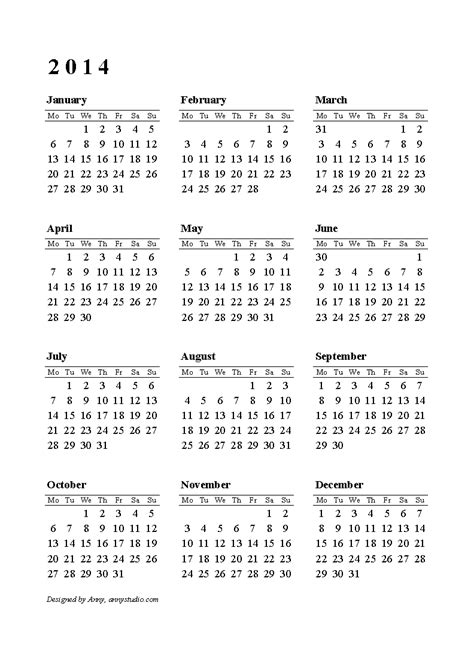2014 printable calendar download templates