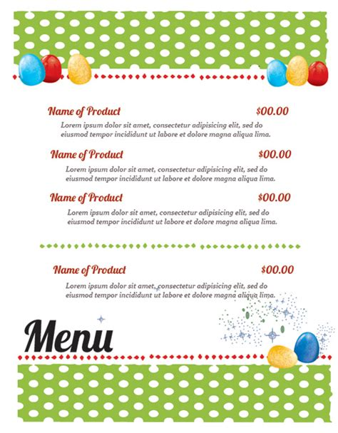 illustrator menu template free easter restaurant menu templates for photoshop and
