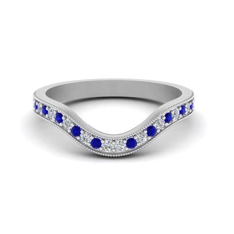 milgrain pave curved diamond wedding band  sapphire