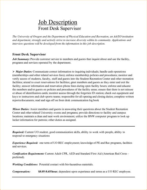 front desk manager job description resume for front desk receptionist agent de rception