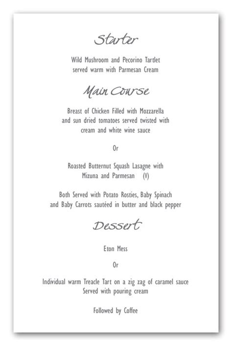 menu layout for wedding wedding invitation wording menu layout exle
