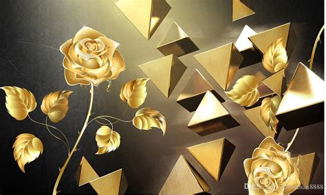 custom wallpaper  pyramid stereo gold rose background