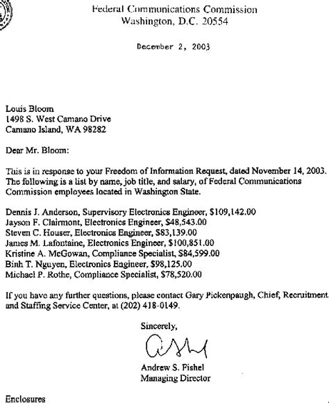 Employment Letter With Commission 2003 Federal Communications Commission Of Washington State Employees List