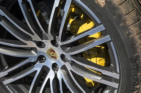 yellow porsche brake calipers  cars