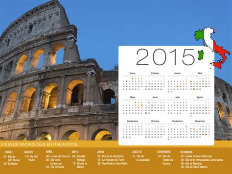 Calendario De Italia Calendario De Vacaciones Italia 2015
