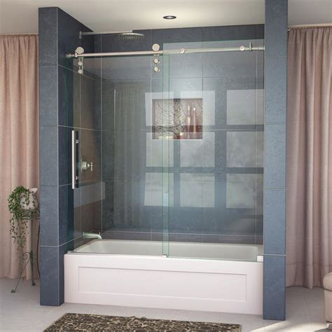 sliding shower doors for tub dreamline enigma z 56 in x 62 in frameless sliding tub