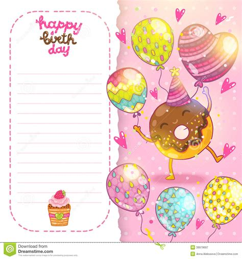 donut card template happy birthday card background with donut stock