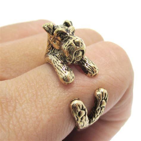 puppy ring 3d miniature schnauzer puppy animal wrap ring in shiny gold sizes 5 to 9