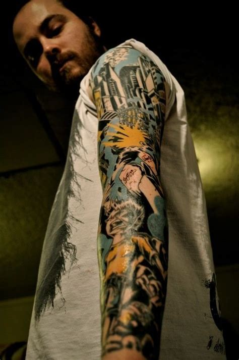 comic book tattoo sleeve tattoos pinterest
