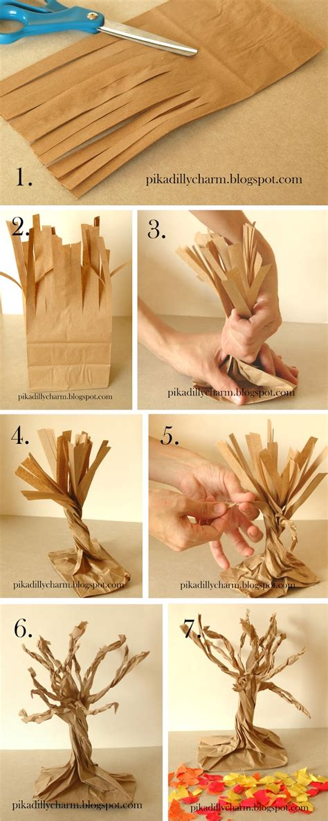 Paper Bag Tree Craft - pikadilly charm paper bag fall tree
