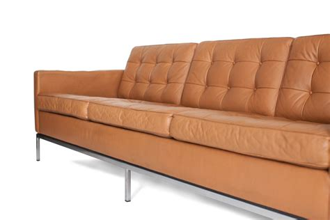 Florence Leather Sofa Mid Century 3 Seater Leather Sofa By Florence Knoll Bassett For Knoll International For Sale At