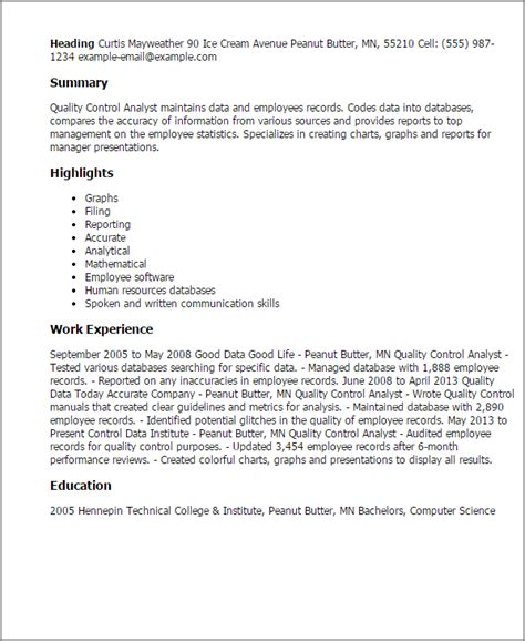 Business Analyst Resume Summary Examples by Professional Quality Control Analyst Templates To Showcase