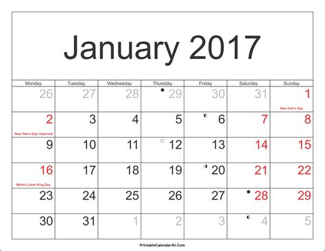 january 2017 calendar printable with holidays weekly