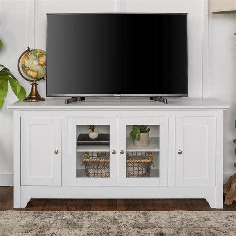 walker edison furniture company 52 in white wood tv media