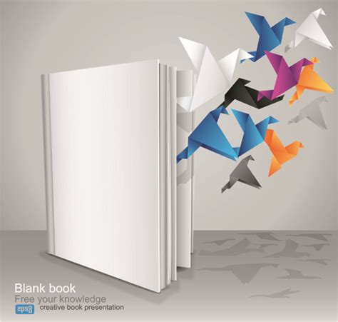 Creative Origami - creative book with origami birds design vector free vector
