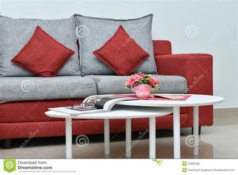 red and grey sofa modern red and grey sofa in living room interior stock