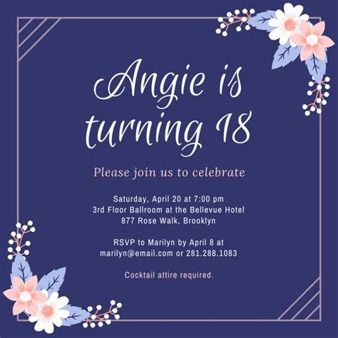 18th birthday card template purple and pink flowers 18th birthday invitation