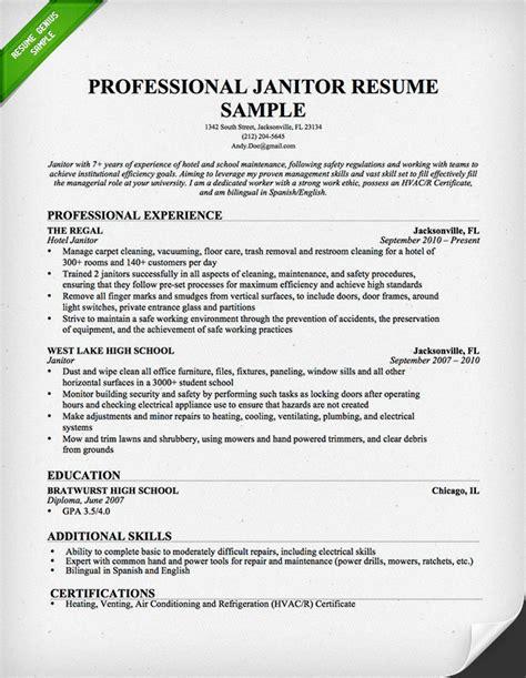 professional janitor resume sle resume genius