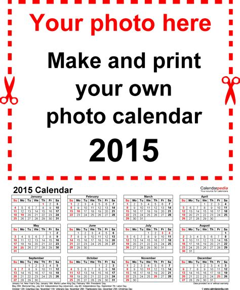 photo calendar 2015 free printable word templates