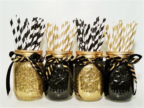 black decorations jar centerpieces gold wedding black and gold decor