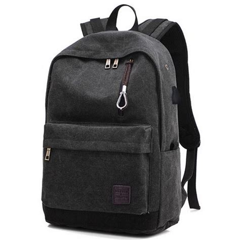 Backpack Tas Ransel tas ransel backpack oxford dengan usb charger port black