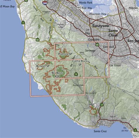 big basin trail map bay area trail map big basin and castle rock