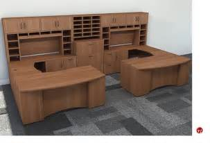 2 Person Office Desk The Office Leader Peblo 2 Person U Shape Bowfront Office Desk Workstation Overhead Storage