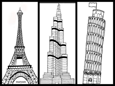 Sketches Of 7 Wonders In World by Seven Wonders Clever