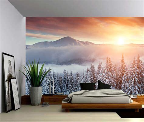mountain wall mural snow mountain sunset large wall mural self adhesive vinyl