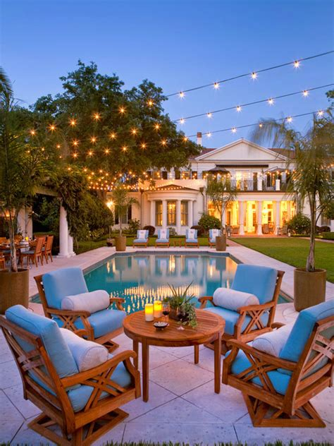 outside ideas string lights patio lighting globe bulbs backyard ideas