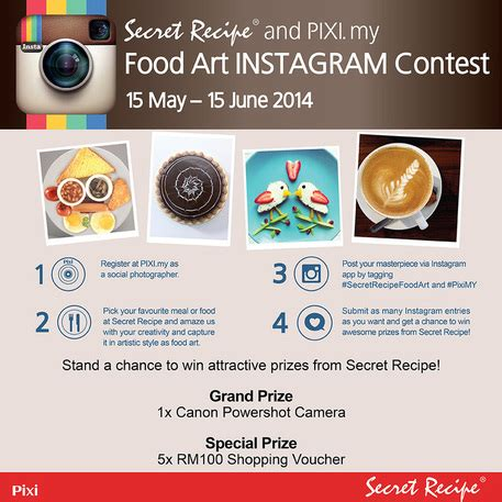 How To Pick A Winner On Instagram Giveaway - secret recipe pixi my food art instagram contest contests events malaysia